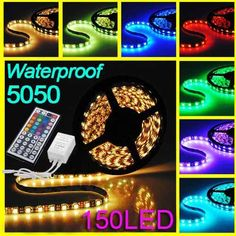 FAVOLCANO Flexible RGB LED Strip Lights LED Tape Multicolors 150 Units 5050 LEDs Waterproof Light Strips IR Remote Controller * You can get more details by clicking on the image. (This is an affiliate link) Rgb Led Strip Lights, Led Light Strips, Strip Lighting, Christmas Rope Lights, Decorative Night Lights, Waterproof Led Lights, Led Flexible Strip, Led Tape, Sound Stage