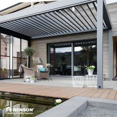 Living Outdoor Throughout The Year With A RENSON® Terrace Covering! A  Louvered Roof Or Patio Cover With Fabric.