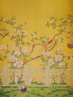 WP YellowWall  Peonies and Lyre Birds