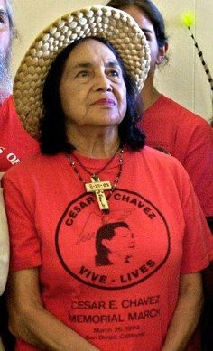 Dolores Huerta:  Alongside the late César Chávez, Huerta co-founded what would eventually become the United Farm Workers (UFW) labor union. For her service to her community and beyond (the Delano grape strike of 1965, lobbying for Aid to Families with Dependent Children), she's been the recipient of numerous awards from labor and women's organizations alike, making her a leading role model among Latinos and activists.