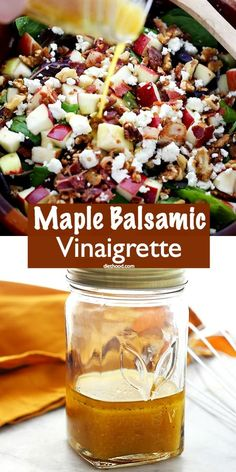 Maple Balsamic Vinaigrette - Zesty dijon mustard, sweet maple syrup, and tangy golden balsamic vinegar lend bright flavors to this amazing Dressing. It is wonderful on salads, pastas, and works great as a marinade for meats. Salad With Balsamic Dressing, Vinaigrette Salad Dressing, Salad Dressing Recipes, Maple Syrup Salad Dressing Recipe, Balsamic Vinegarette, Balsamic Vinaigrette Recipe, Sweet Salad Dressings, Maple Syrup Recipes, It's Wonderful