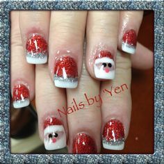 This set is done with color glitter acrylic except for Santa's eyes and nose.   Nail art by Yen.....