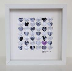 Lyric Wedding Gift picture Frame - 3D song wedding hearts framed art wedding gift. Wedding Vows or Song Lyrics and Photo heart art. $68.00, via Etsy.