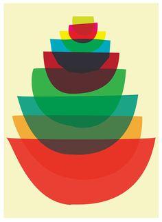 Giclee Kitchen Bowls Art Print - Bowl Stack - Mid Century Modern Inspired Mod Art Print For Cooks & Chefs