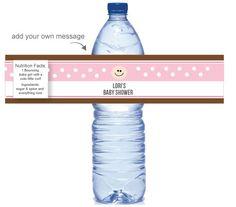 Printable Pink Chocolate Water Bottle Labels www.printitbaby.com #babyshower