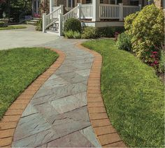 Create a stunning pavingstone walkway using Cambridge Pavers. This walkway features the Sherwood Collection in Vermont Slate with a border from the RoundTable Collection in Chestnut/Salmon. Paver Pathway, Gravel Walkway, Concrete Path, Outdoor Walkway, Concrete Walkway, Stone Walkway, Paving Stones, Walkways, House Landscape