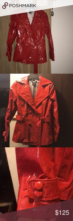 RARE red patent leather belted coat by mark Allen Gorgeous red patent leather mark allen belted coat in outstanding condition. It is truly stunning. Belted, button details at wrists, one interior button, double breasted with turn up collar. Trademark polka dot lining. Looks like a belted, short trench coat. Perfect for singing in the rain! mark allen Jackets & Coats Trench Coats