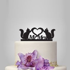 cats wedding cake topper,  mr and mrs wedding cake topper