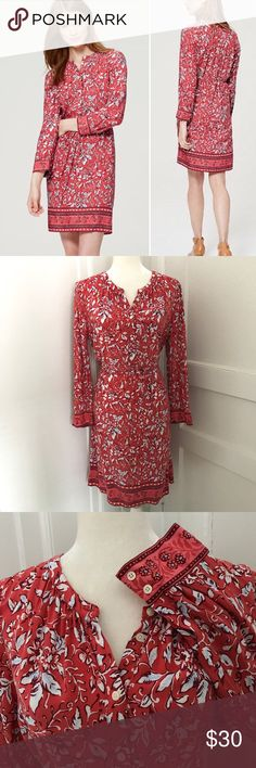 LOFT Border Floral Henley Shirtdress Gently used condition. No stains or holes. Reasonable offers welcome via the offer button.   Tie at waist 3/4 length sleeve Lightweight 100% rayon Machine wash  Fits approximately like a size 10 See photos for measurements  **Absolutely no trades please** LOFT Dresses