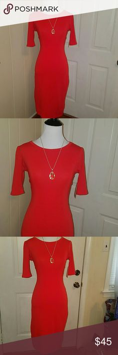 """LULAROE """" JULIA """" DRESS IN TRUE RED*NWT*XS Gorgeous Julia dress in True Red color and In Extra small in size . Brand New with tags attached . By LULAROE. (*pendant/necklace NOT FOR SALE .. USED FOR DISPLAY ONLY ) LuLaRoe Dresses Midi"""
