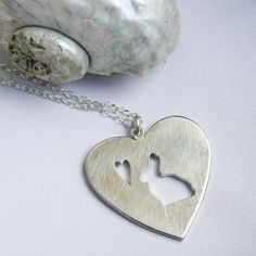 rabbit necklace heart necklace bunny pendant sterling silver bunny rabbit jewelry. $72.00, via Etsy.