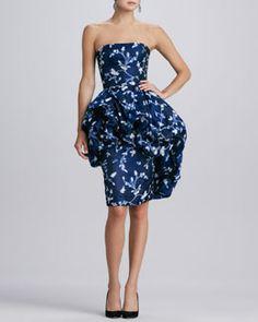 B2C1K Oscar de la Renta Floral Bustled-Peplum Dress, Indigo
