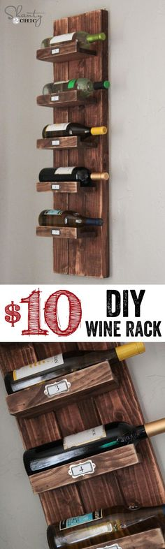This DIY Wine Rack is simple and inexpensive to make. And perfect for a small space. | Tiny Homes