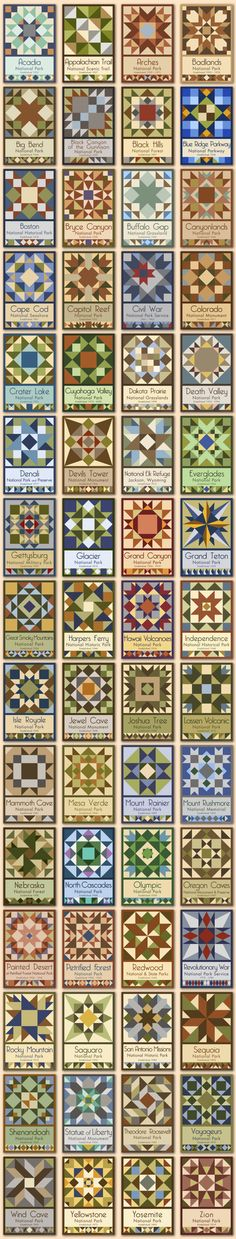 Susan Davis, owner of Olde American Antiques and American Quilt Blocks, has created a series of original quilt block designs to pay tribute to the National Park Service Centennial These are the first quilt blocks created specifically for the Nat Barn Quilt Designs, Barn Quilt Patterns, Quilting Designs, Quilting Patterns, Star Quilt Blocks, Star Quilts, Patchwork Quilting, American Quilt, Sampler Quilts
