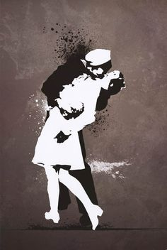 War's End Kiss Street Art Graffiti Poster 24x36 – BananaRoad