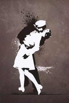 War's End Kiss Street Art Graffiti Poster 24x36 – BananaRoad