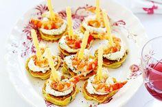 Corn blini with prawns