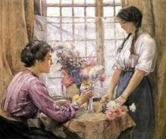 Henry Meynell Rheam (British artist, 1859-1920) Arranging Flowers