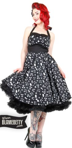 Wear your love for all things macabre proudly in the Creepy 50's Dress! This cotton swing dress is a vintage reproduction form the 1950's with a ghastly twist!  #blamebetty
