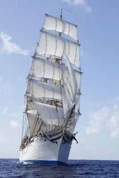 """Statsraad Lehmkuhl"". The fastest sail training vessel in the world ? [ http://www.lehmkuhl.no/en/topp/home/ ]"