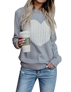 New shermie Women s Pullover Sweaters Long Sleeve Crewneck Cute Heart Knitted  Sweaters online   28.98  bfb2fd23a