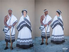Traditional African Wedding Attire Bride and Groom African Fashion Designers, African Men Fashion, Africa Fashion, African Fashion Dresses, Fashion Outfits, South African Traditional Dresses, Traditional Wedding Dresses, Traditional Outfits, African Wedding Attire