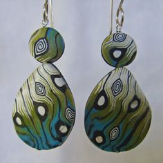 Organic Earrings Alpha polymer clay and sterling by RadicallyRiley, $30.00