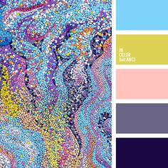 """""""пыльный"""" фиолетовый, голубой, жёлто-зелёный, желтый, оттенки фиолетового, пастельный розовый, розовый, светло-фиолетовый, темно-фиолетовый, фиолетовый, яркий голубой."""