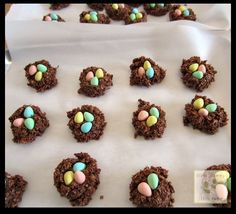 Chocolate, No-Bake, Easter Nest Macaroons, aka Frogs Recipe Desserts with milk, butter, granulated sugar, cocoa powder, vanilla, oatmeal, shredded coconut, candy