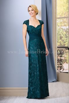Jasmine Bridal - Jade Style J185068 in Lace/Crepe with Acetate Lining, color Teal