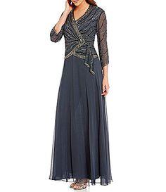 Jkara VNeck 34 Sleeve Beaded FauxWrap Chiffon Gown #Dillards