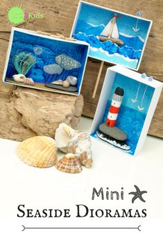 Seaside Art, Seaside Theme, Beach Art, Shoe Box Art, Projects For Kids, Crafts For Kids, Diorama Kids, Under The Sea Crafts, Lighthouse Art