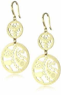 "Rebecca ""Cashmere"" Yellow Gold Over Bronze Circle Paisley Earrings REBECCA. $250.00. 18k yellow gold over bronze. Made in Italy. Embellished with 'Rebecca' logo and 'Made in Italy' stamp. Yellow gold double circle drop earrings with paisley cutout pattern. Yellow gold double circle drop earrings with paisley cutout pattern Made in IT"