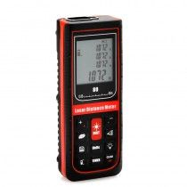 Hand-Held Laser Distance Meter - 0.05 to 80 Meters, Distance/Area/Volumetric Measure, Timer Setup, Flip Out End Piece