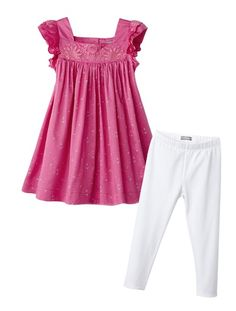 Ensemble robe imprimée + legging fille AQUA FONCE IMPRIME - BLANC+FUCHSIA IMPRIME - GRIS PALE - vertbaudet enfant