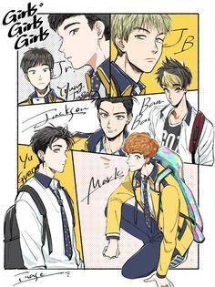 Manga style Got7 fanart by inase-kun2.