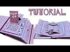 Mini Albums Scrap, Mini Scrapbook Albums, Diy Scrapbook, Fun Fold Cards, Pop Up Cards, Diy Journal Books, Art Journals, Diy Mini Album Tutorial, Pop Up Karten