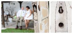 Chippy salvage doors frame the happy couple.