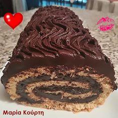 Μερεντο-Ρολό με στεβια για διαβητικούς Brownie Cake, Stevia, Sugar Free, Recipies, Sweets, Healthy Recipes, Cookies, Chocolate, Desserts