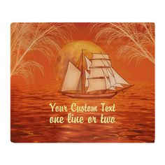 Personalized Sailboat Beach Throw Blanket #Personalized orange #sunset ocean with #Clipper ship #Sailboat #sailing graphic art by TheTshirtPainter. Available on a lot of products. For all products with this design click here - http://www.cafepress.com/dd/105198454
