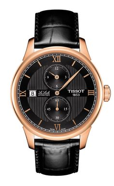 """The Tissot Le Locle Regulateur features the traditional """"regulator"""" dial — with a large central minutes hands and separate sub-dials for the hours and minutes; the date appears in a window at the 9 o'clock position (black dial/rose gold PVD/black leather strap shown).  More @ http://www.watchtime.com/wristwatch-industry-news/watches/tissot-le-locle-regulateur-another-nod-to-affordable-elegance/ #tissot #watchtime #baselworld2016"""