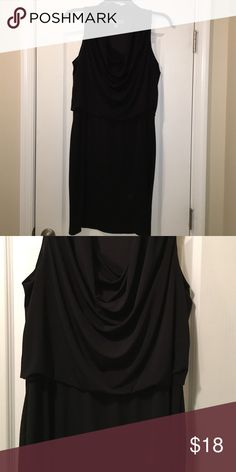 Black Donna Ricco dress 14 Polyester and Spandex.  Flattering with scoop/cowl neck and waist detail. Donna Ricco Dresses