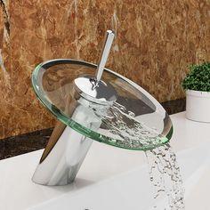 """VILSTEIN© Waschtisch-Armatur Einhebelmischer Einhand Wasserhahn mit Wasserfall-Effekt Armatur für Bad Badezimmer Waschbecken, Verchromt, Glas-Auslauf, Hell-Grün, Standard Anschluss 1/2"""": Amazon.de: Baumarkt"""