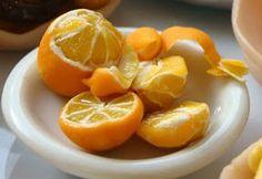 Miniature polymer clay food- peeled oranges