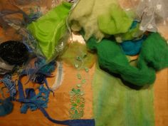 My collected stash, in the front the coloured linen