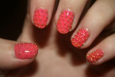 coral with gold studs #nails #nailart