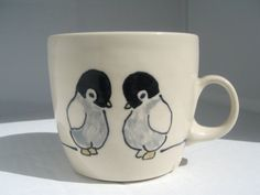 Cute Penguins Mug by abbyberkson on Etsy Penguin World, Penguin Mug, Penguin Craft, Penguin Love, Stars Disney, Penguin Pictures, Baby Penguins, Wild Birds, Ceramic Painting