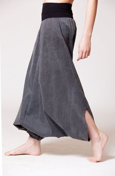 Black Cotton Womens Harem Skirt Pants Stone Wash by MichalRomem, $110.00