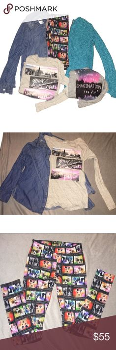 Justice shirts, jacket and pants Bundle! 5 Items in total including - Blue Jacket with sparkles on the collar. An off White long sleeve printed shirt. Leggings with cute little dogs on them. A Bright Blue knit sweater. A Gray short sleeve printed shirt! ALL ITEMS SIZE 14 KIDS! All lightly worn and in great condition! Over 200$ value! Justice Shirts & Tops