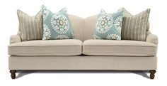 "$899 81"" Cream Upholstered Sofa"
